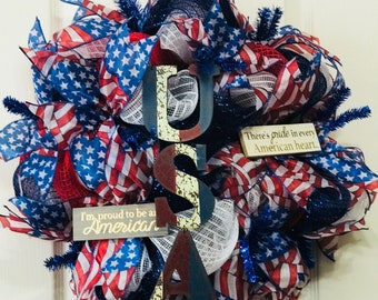 Patriotic 4th of July Independence Day Wreath