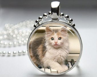 Kitty Cat Round Pendant Necklace with Silver Ball or Snake Chain Necklace or Key Ring