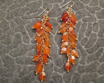 Fabulous Genuine CARNELIAN Chandelier Earrings>LONG & LUSCIOUS> Natural Polished stones> Vivid Burnt Orange color> new old stock