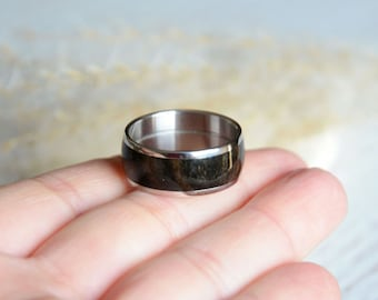 Mens ring made of dark wood, wooden ring, wenge wood & stainless steel ring, natural ring with wood inlay, wood band ring ready for shipping