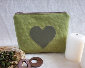 Green makeup bag, Quilted cosmetic case, Toiletry bag with heart, Gift for Mothers Day, Green pouch, Quilted pouch with zipper, Applique