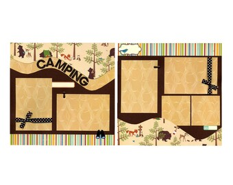 Camping - Two Premade Scrapbook Pages