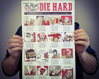 The Night Before Die Hard Poster Design // 11x17 Comic Art Film Print