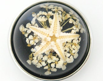 1 PC 18MM Black Starfish Set in Glass Silver Candy Snap Charm kg6016 CC1133
