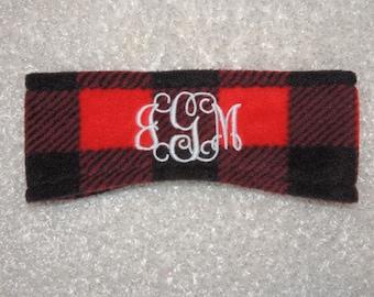 Buffalo Plaid Monogram Fleece Headband, Ear Warmers,  Monogram  Headband - Ear Warmers - Ski Band - Ear Muff Custom made,  Best price