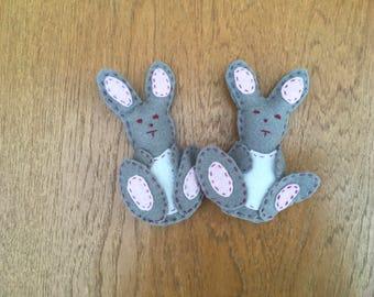 Mini felt rabbit twins
