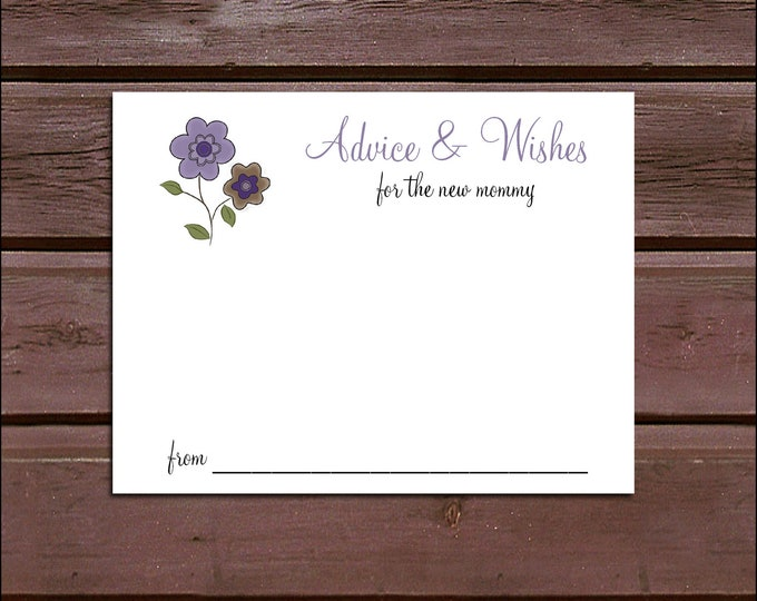 25 PURPLE & BROWN DAISIES Baby Shower Advice and Wishes.  Includes printing.