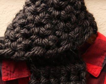 Handmade Crocheted Charcoal Scarf