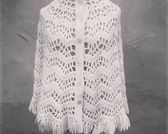 Vintage Handcrafted White Acrylic Crocheted Button Shawl Cape Size Girl's Medium Large