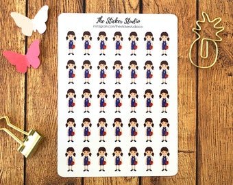 Basketball Planner Stickers (brown hair girl) - Basketball Lessons Stickers, Basketball Practice, Basketball Match, Sports Planner Stickers