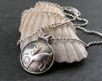 Aries zodiac pendant, handmade eco friendly fine silver pendant-OOAK