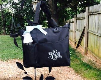 Monogrammed Super Feature Tote - Personalized Solid Color Book Bag Bridesmaids Teacher Bag Travel Briefcase Monogram Initials Diaper Bag