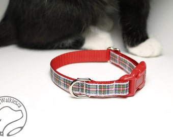 "Dress Stewart Tartan Small Dog Collar - Thin Dog Collar - 1/2"" (12mm) Wide - White and Red Plaid - Choice of style and size"