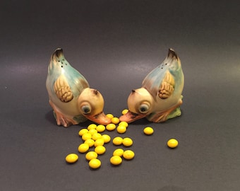 Vintage Little Duckie Ceramic Salt and Pepper Shakers with Cork Stoppers Made in Japan