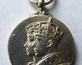 British Empire 1937 King George VI CORONATION SILVER Medal awarded to mark the coronation of King george 6th Miniature medal Medallion
