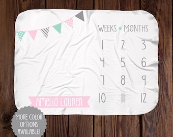 Personalized Milestone Blanket - Boy Banner Monthly Blanket - Minky or Swaddle Blanket