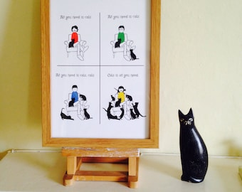 All You Need Is Cats. A4 Colour Art Print of The Beatles and Cats!