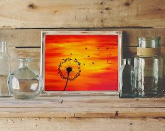 Dandelion Print Sunset Painting - Red Orange Yellow Dandelion Painting - Dandelion Art Print Silouhette Art - Acrylic Painting Print
