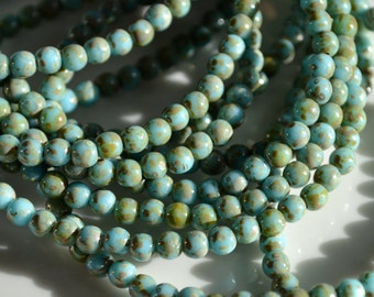 Robins Egg Blue and Picasso 4mm Round Beads   50