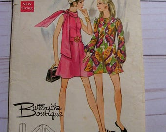 Mini Dress | Sleeveless or LS | Misses 12 bust 34 | Butterick Boutique | Butterick 5650 | cut used complete vintage 1960's sewing pattern