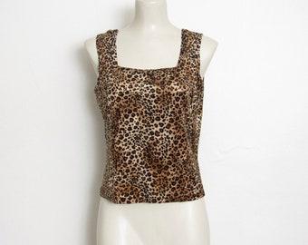 Imprimé léopard des années 1990 Tank Top / Vintage des années 90 Rave ville / Club Kid Festival chemise
