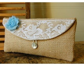 blue, burlap, lace, white, orange, gold clutch, rustic floral clutch, Spring Wedding Clutch, Bridesmaid Gift, Bridesmaid Clutch, Makeup Bag
