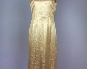 Vintage 60s Gold Brocade Maxi Dress - Column Shift Party Dress - Small Medium