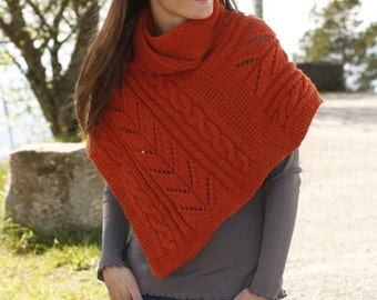 Women hand knitted poncho / wrap / cape / shoulder warmer in soft wool / alpaca with cable / lace pattern, size  S/M - M/L - L/XL - XXL/XXXL