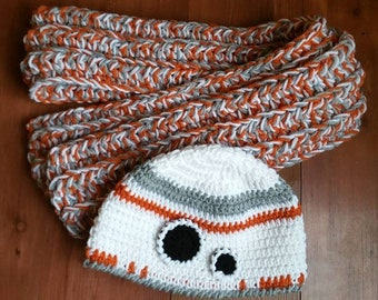 BB-8 inspired hat and scarf set