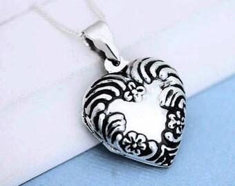 Flower Sterling silver heart  locket Necklace . Solid Sterling Silver Heart Shape Locket, Heirloom Photo Locket . Locket jewelry