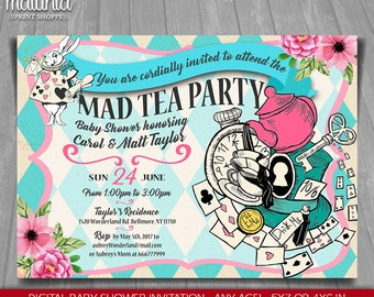 Alice in Wonderland Baby Shower Invitation - Alice in Wonderland Baby shower tea Printed Invite - Mad Hatter Baby Shower invitation (WOIN02)