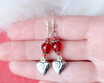 Red Glass Earrings, Silver Heart Earrings, Mother's Day Gift, Gifts for Women Her Mom, Valentine's Day Jewelry, Love, Dangle Charm, Spiral