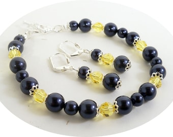 Blue and Yellow Bracelet and Earrings Set, Dark Blue, Light Topaz, Citrine, Bridesmaid