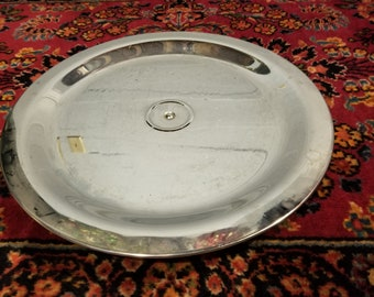 Beautiful Chrome Serving Tray on Stand