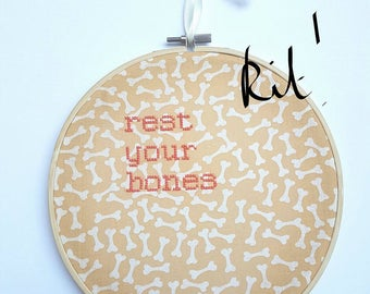 """Self Care Cross Stitch KIT """"Rest Your Bones"""" Embroidery 8"""" hanging mental health charity awareness gift, selfcare, resting, get well soon"""