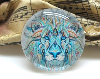 1 cabochon 25 mm glass Lion Tribal 2-25 mm