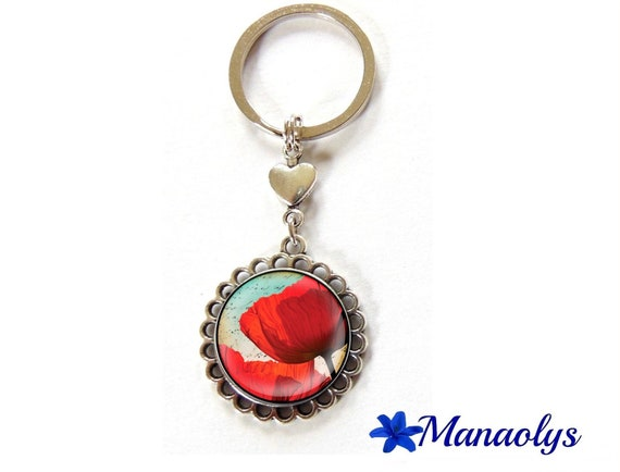 Key ring or jewelry bag poppy 83 glass cabochons