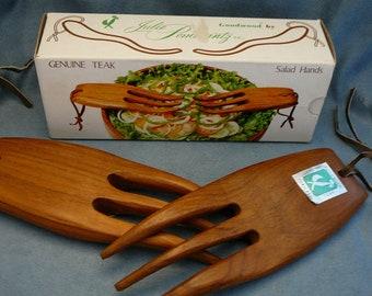 MCM Teak Salad Hands Goodwood Julie Pomerantz Salad Set Vintage