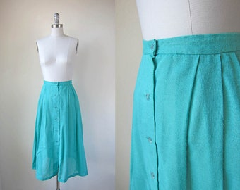 1970s vintage seafoam green blue fitted waist button down a line midi skirt s