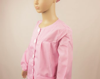Childs Gingham Art & Activity Smock - Ideal for play, painting and cookery (PINK)