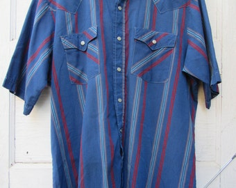 80s Striped Blue Cowboy Shirt w/ Short Sleeves by Saddle King Western, Made in USA, Men's L  // Vintage Country Western Shirt