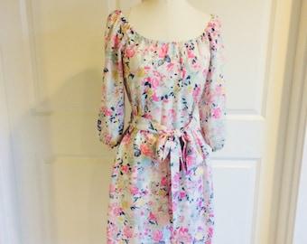 Womens Floral Dress - Open Sleeve Dress - peekaboo sleeves - Flowy Dress - Easter Dress - Womens Easter Dress - Floral Dress - boho dress