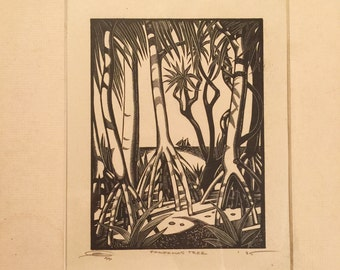 E.M. Washington Woodcut Print - Pandanas Tree - Tropical - Art Scam - Signed and dated 1935