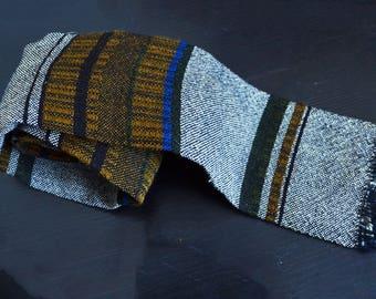 70s wool tie square necktie handwooven in Canada