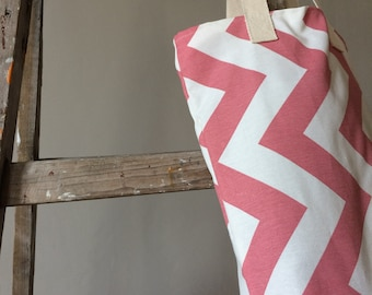 Pink Zigzag Canvas Bag, Tote Shopper Bag, Eco Shopping Bag, Zipper tote bag, Market Bag, Tote Shopping Bag, Shoppin canvas Bag wit Zipper,