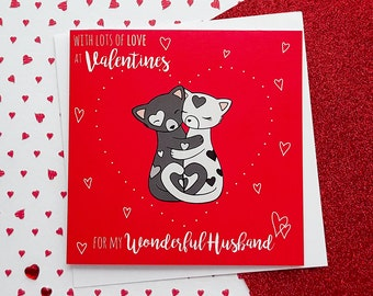 Valentines card heart card romantic card gift cards cards husband valentines card cute cats card valentines day card husband valentine card m4hsunfo