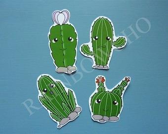 4 cactus stickers too kawaii