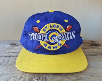 Vintage 90s St. Louis RAMS Football Snapback Hat Original Two Toned Official NFL Sports Cap by #1 Apparel Embroidered Adjustable Ballcap