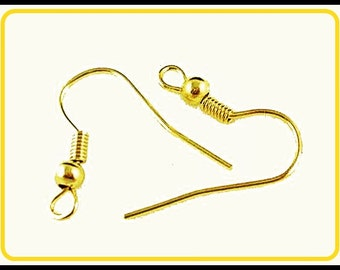 50 x Gold Plated Earring Wire Hooks  - B12