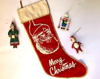 Vintage Christmas Stocking, Santa Stocking